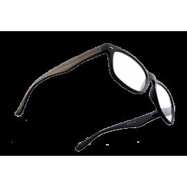 X - Reader Læsebrille mellem mørkt træ med mat sort front