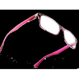 X - Reader Læsebrille mørk front med transp. backing - rosa stænger