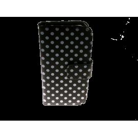 810013 IPHONE 6 cover sort m. hvide prikker - klap