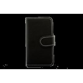 IPHONE 6 cover Sort læder med klap hvide syninger