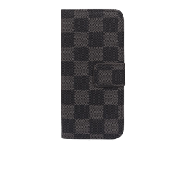 IPHONE 4 sort-grå ternet flipcover